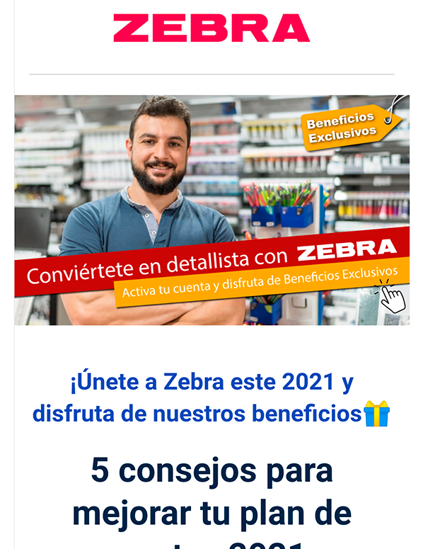 Zebra - Email Marketing - Portafolio Merca3W